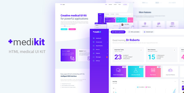 Medikit - Medical UI HTML Kit - Dashboard and Landing Page