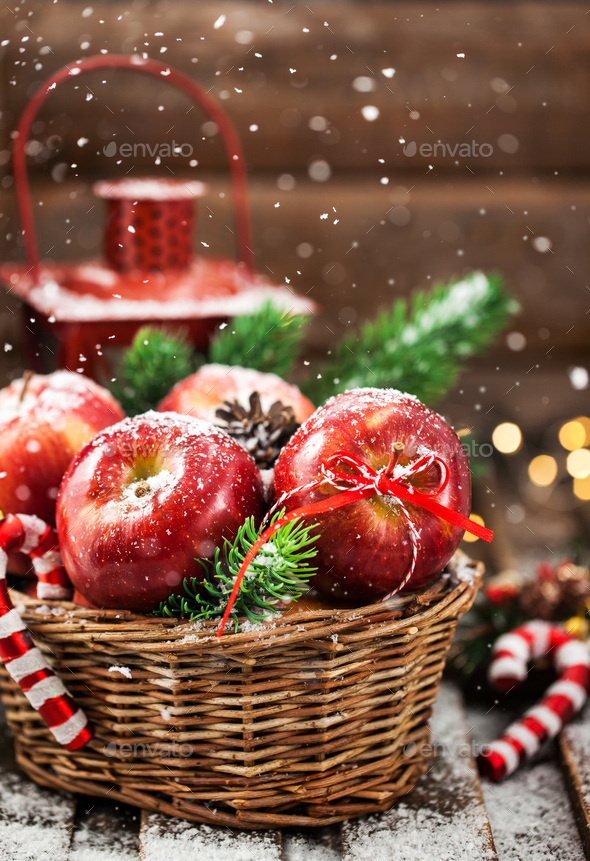 Christmas red apples - Stock Photo - Images