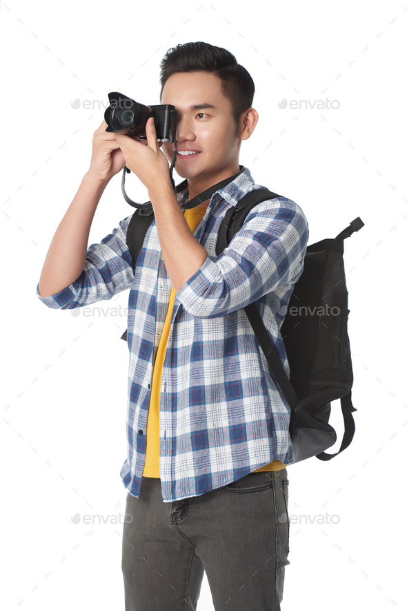 Tourist taking photos - Stock Photo - Images