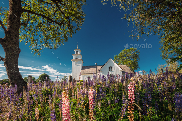 Tocksfors, Sweden. Tocksmarks Church In Sunny Summer Day - Stock Photo - Images