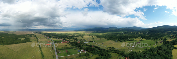 Aerial view of country landscape in the summer. - Stock Photo - Images