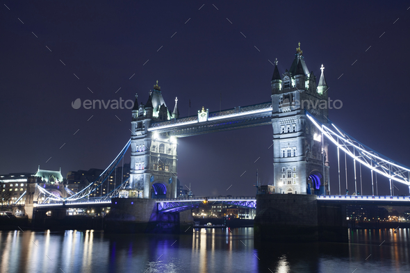 Famous Tower Bridge in the evening, London, England - Stock Photo - Images