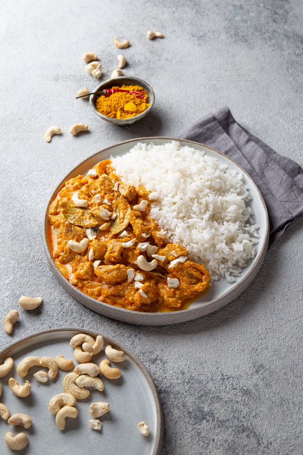 Tradishional Indian Food Lamb Korma with Cashew. - Stock Photo - Images