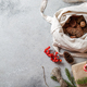 Zero waste Christmas concept. Natural Chirsmas decoration, pine cones and branches in linen bag - PhotoDune Item for Sale