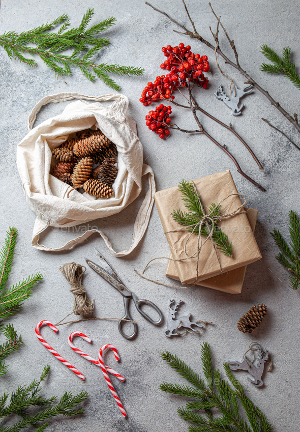 Zero waste Christmas concept. Natural Chirsmas decoration and Hand crafted gifts without plastic - Stock Photo - Images