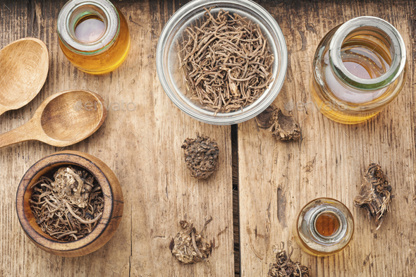 Herbal tincture of valerian - Stock Photo - Images