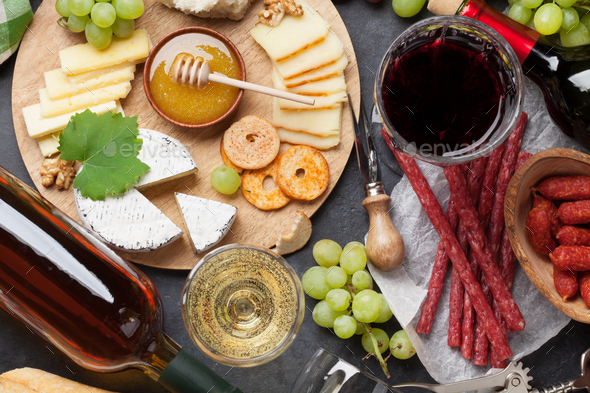 Wine, grape, cheese, sausages - Stock Photo - Images