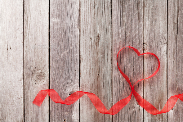 Valentines day heart shaped ribbon - Stock Photo - Images