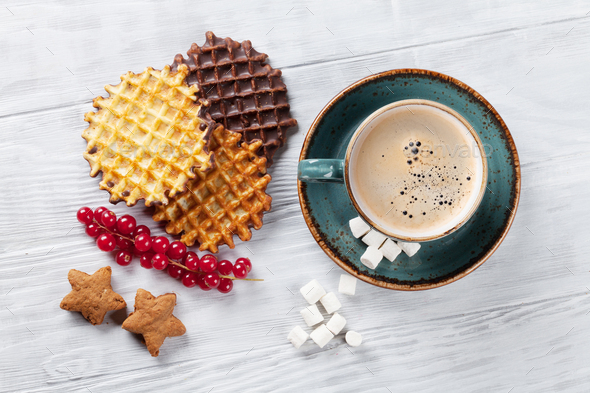 Coffee with waffles and sweets - Stock Photo - Images