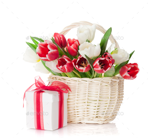 Colorful tulips and gift box - Stock Photo - Images