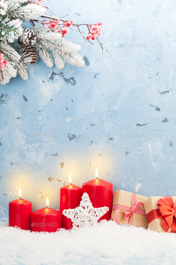 Christmas candles, gifts and fir tree - Stock Photo - Images