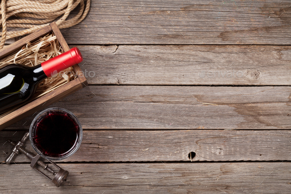 Red wine bottle and glass - Stock Photo - Images