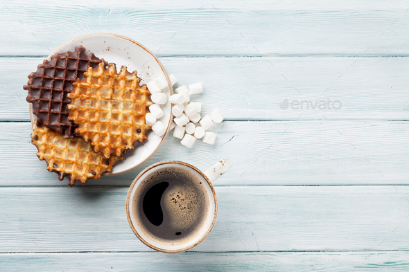 Coffee and waffles - Stock Photo - Images