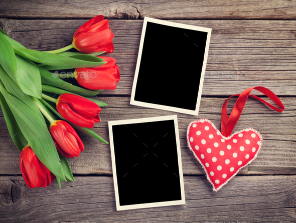 Red tulips, blank photo frames and heart - Stock Photo - Images