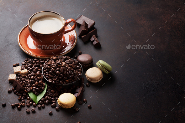 Coffee cup and beans - Stock Photo - Images