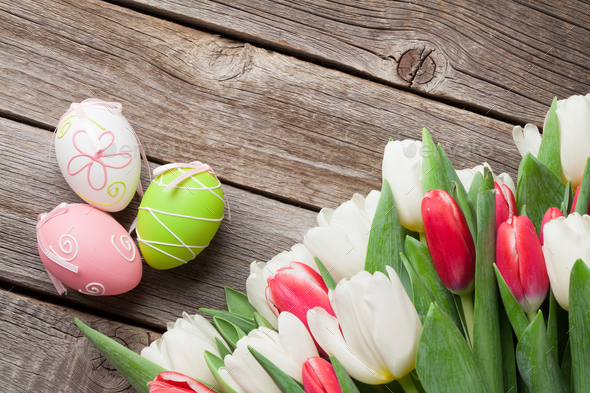 Easter eggs and tulips bouquet - Stock Photo - Images