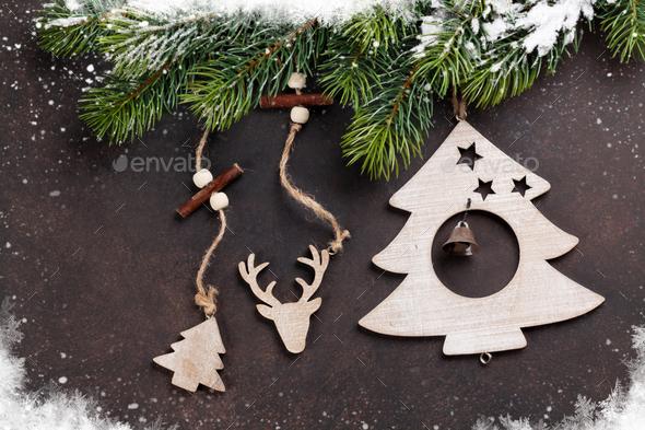 Christmas snow fir tree and decor - Stock Photo - Images
