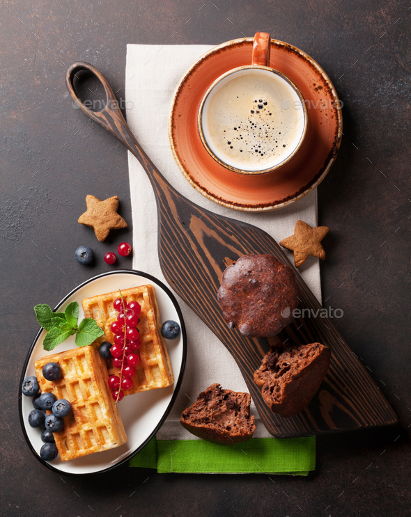 Coffee and waffles with berries - Stock Photo - Images