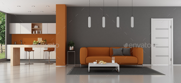 Modern living room with kitchen on background - Stock Photo - Images