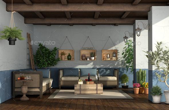 Porch In Mediterranean Style With Vintage Furniture
