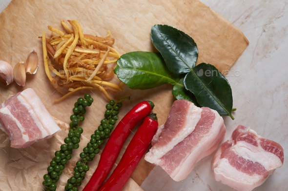 The ingredients for cooking the stir-fry spicy belly pork - Stock Photo - Images