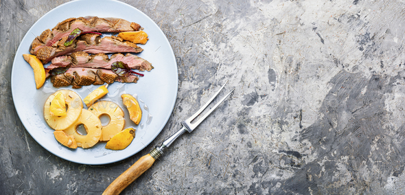 Delicious roasted duck breast - Stock Photo - Images