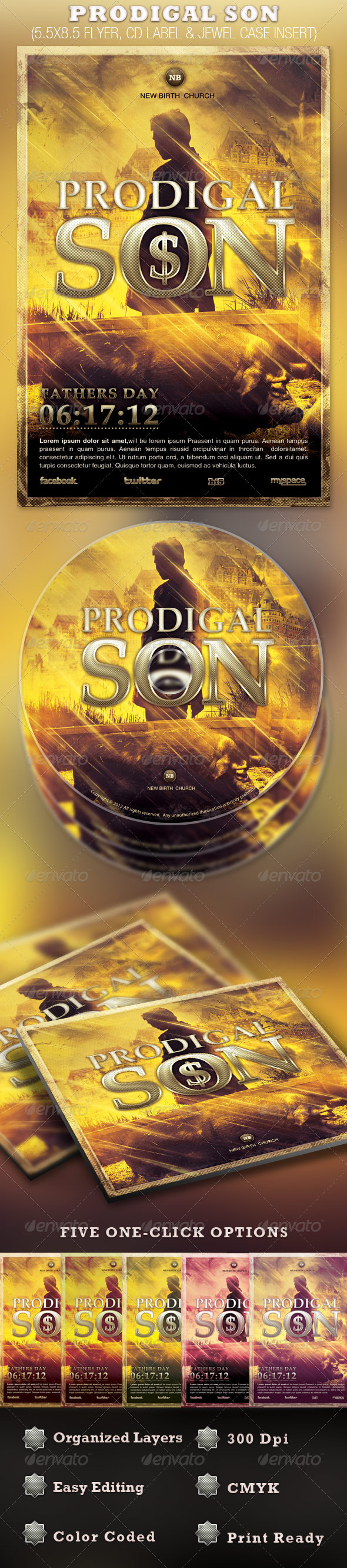 Prodigal Son Flyer and CD Template - Church Flyers