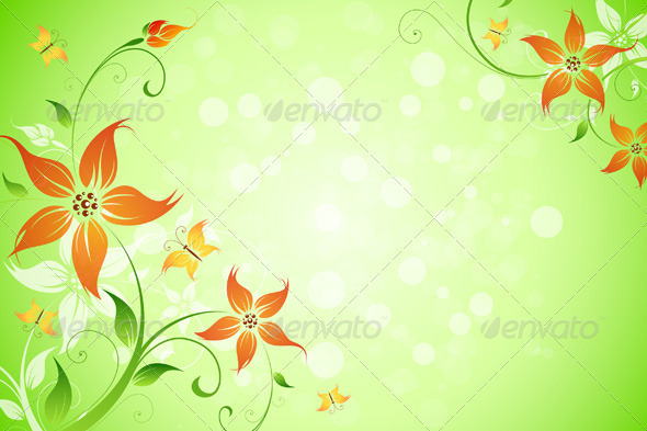 Flowers Background - Flourishes / Swirls Decorative