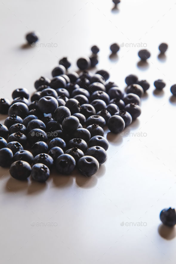 Group of fresh blueberries isolated on white background. Healthy food, health - Stock Photo - Images