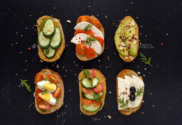 Set of fresh sandwiches snacks - Stock Photo - Images