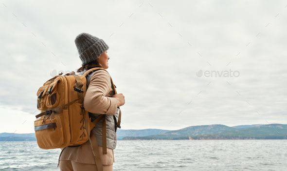 woman on a winter walk - Stock Photo - Images