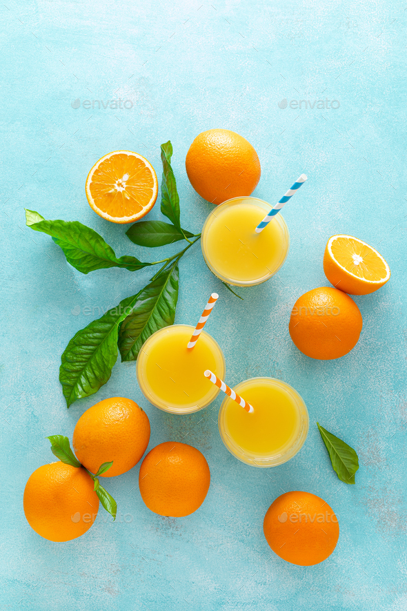 Orange juice, freshly squeezed juice, vitamin C concept - Stock Photo - Images