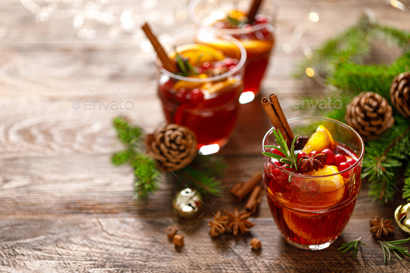 Christmas mulled wine. Traditional festive drink with decorations and fir tree - Stock Photo - Images