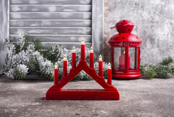 Traditional Swedish candlestick with seven candles - Stock Photo - Images