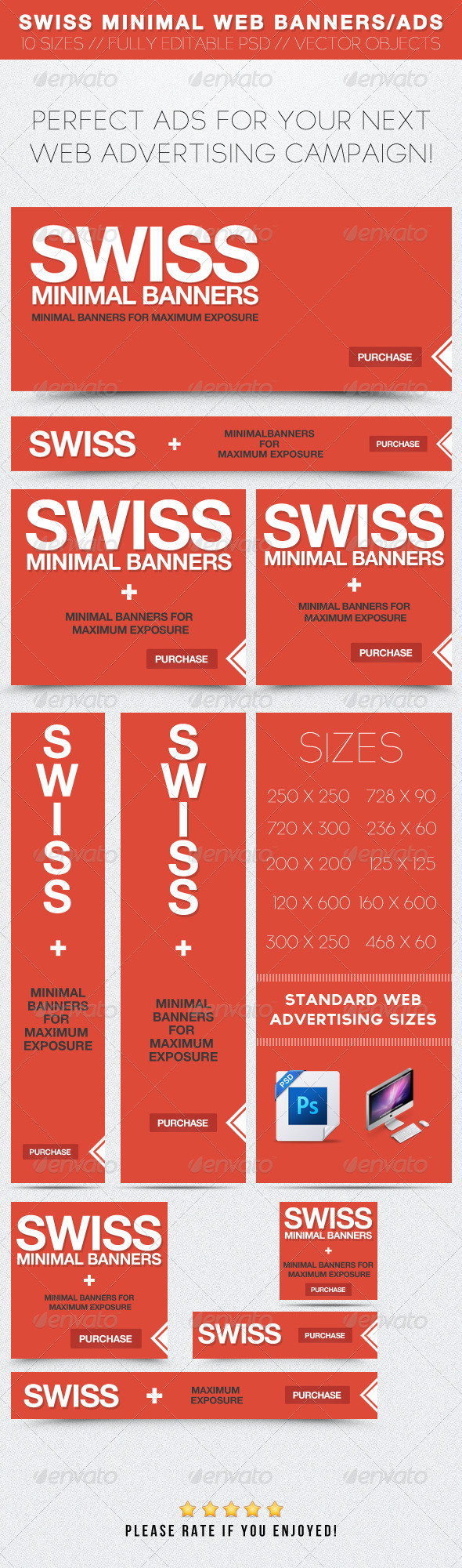 Swiss Minimal Web Banners/Ads - Banners & Ads Web Elements