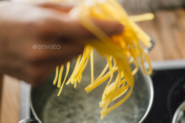Closeup of cooking tasty pasta - Stock Photo - Images