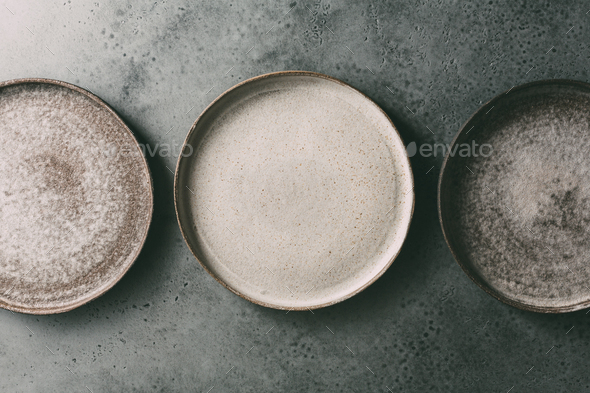 Handmade pottery plates - Stock Photo - Images