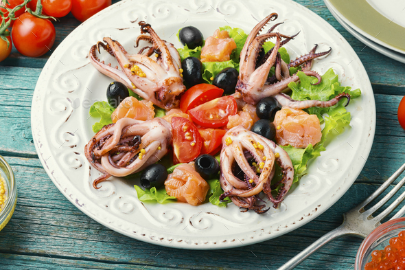 Salad squid with green and seafood - Stock Photo - Images