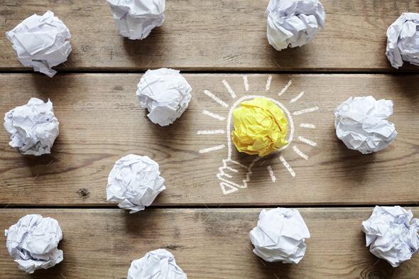 Good idea crumpled paper light bulb metaphor - Stock Photo - Images