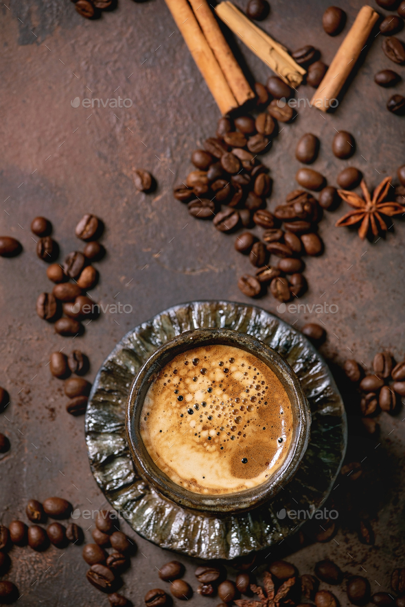 Black coffee with spices - Stock Photo - Images