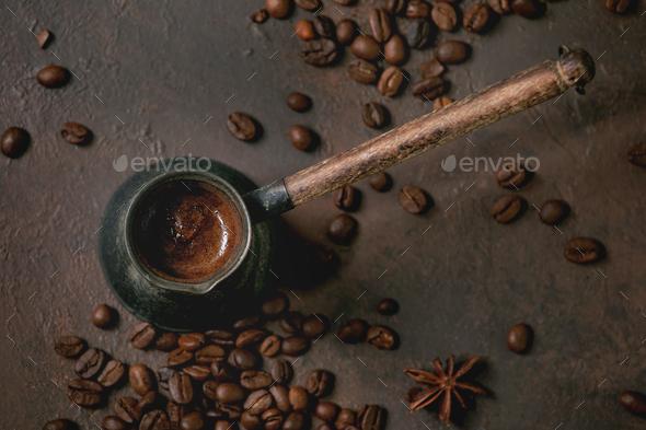 Black coffee in vintage cezve - Stock Photo - Images