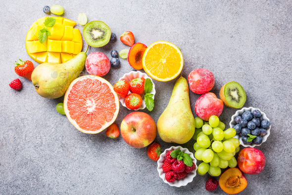 Fresh assorted fruits and berries - Stock Photo - Images