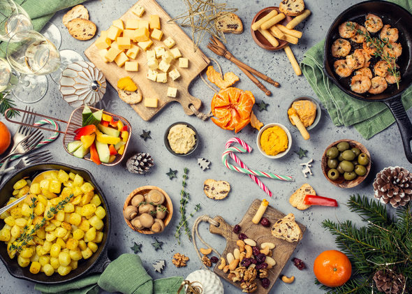 Christmas dinner party table - Stock Photo - Images