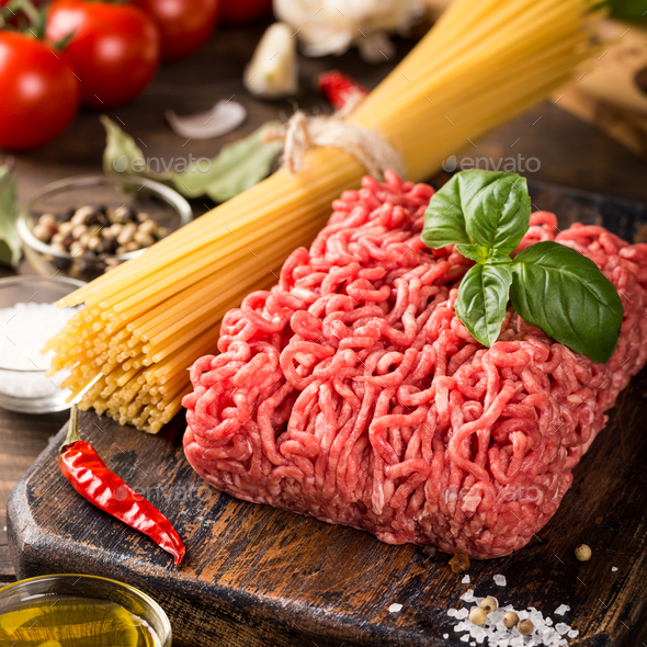 Ingredients for spaghetti Bolognese - Stock Photo - Images