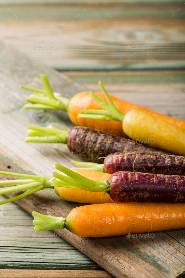 Fresh raw colorful carrots roots - Stock Photo - Images