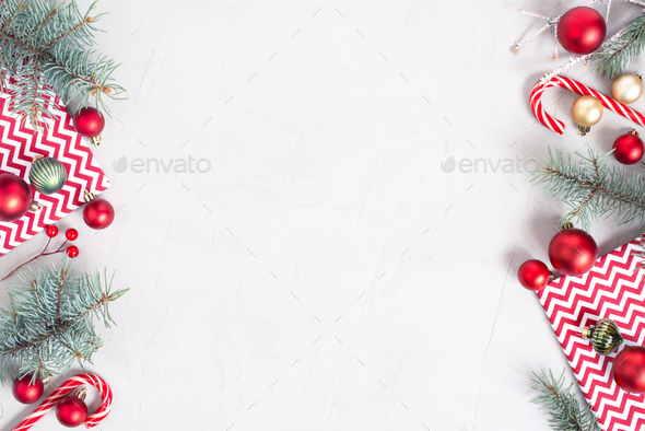 Christmas Festive Frame with Red Decoration and Fir Branches - Stock Photo - Images