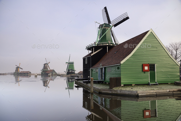 Windmill in the Zaanse Schans - Stock Photo - Images