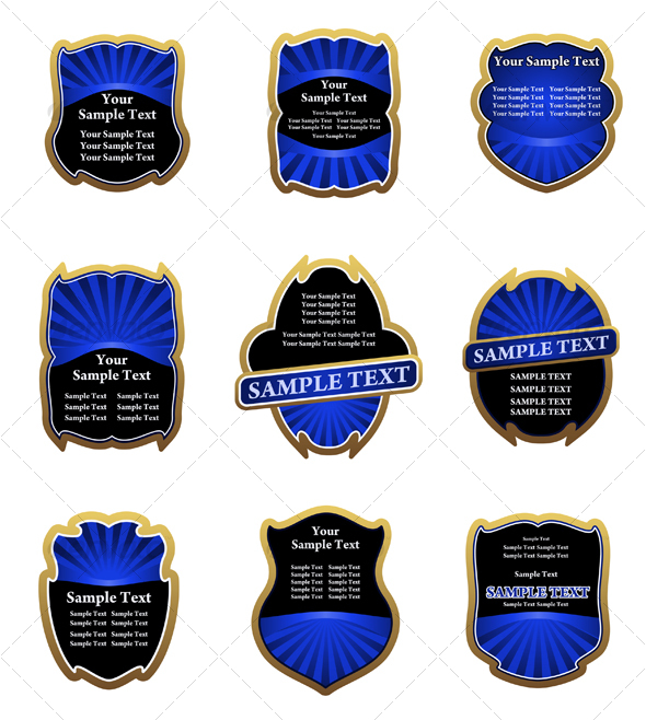 Set of blue labels - Decorative Vectors