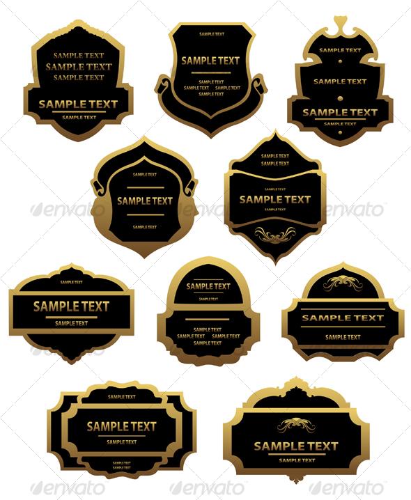 Set of golden labels and frames - Decorative Vectors