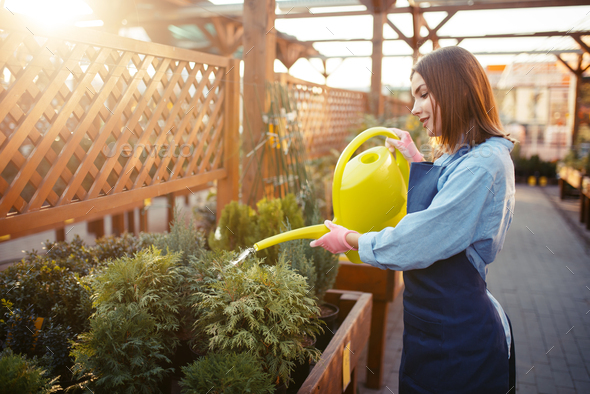 Saleswoman with watering can, shop for gardening - Stock Photo - Images